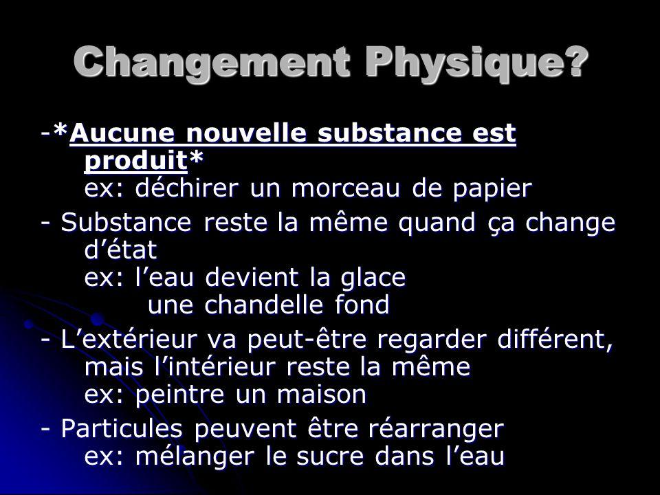 Changement Physique? -*Aucune nouvelle substance est produit* ex: déchirer un morceau de papier - Substance reste la même quand ça change d'état ex: l