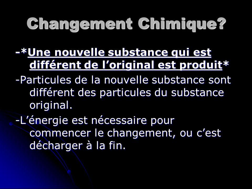 Changement Chimique? -*Une nouvelle substance qui est différent de l'original est produit* -Particules de la nouvelle substance sont différent des par