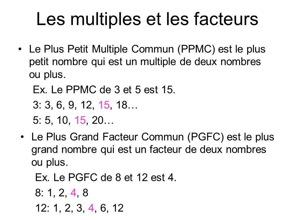 Les multiples et les facteurs Le Plus Petit Multiple Commun (PPMC) est le plus petit nombre qui est un multiple de deux nombres ou plus. Ex. Le PPMC d