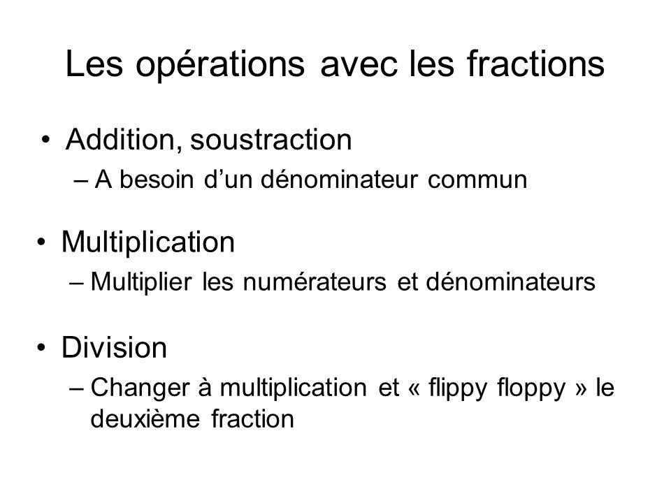 Les opérations avec les fractions Addition, soustraction –A besoin d'un dénominateur commun Multiplication –Multiplier les numérateurs et dénominateur
