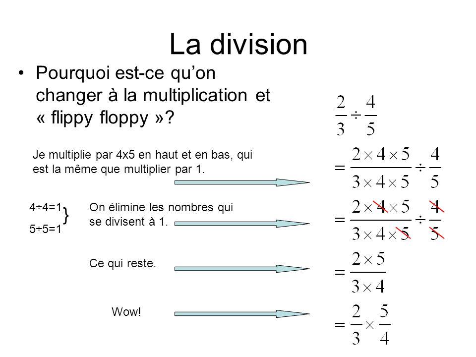 La division Pourquoi est-ce qu'on changer à la multiplication et « flippy floppy »? Je multiplie par 4x5 en haut et en bas, qui est la même que multip