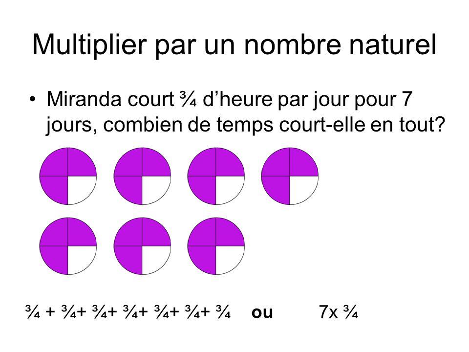 Multiplier par un nombre naturel Miranda court ¾ d'heure par jour pour 7 jours, combien de temps court-elle en tout? ¾ + ¾+ ¾+ ¾+ ¾+ ¾+ ¾ ou 7x ¾