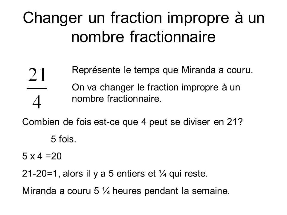 Changer un fraction impropre à un nombre fractionnaire Représente le temps que Miranda a couru. On va changer le fraction impropre à un nombre fractio