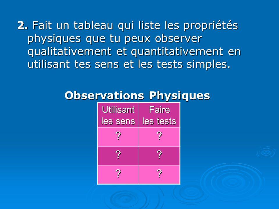 2. Fait un tableau qui liste les propriétés physiques que tu peux observer qualitativement et quantitativement en utilisant tes sens et les tests simp