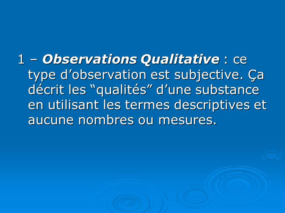 1 – Observations Qualitative : ce type d'observation est subjective.