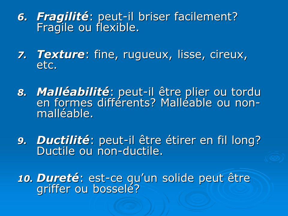 6.Fragilité: peut-il briser facilement. Fragile ou flexible.