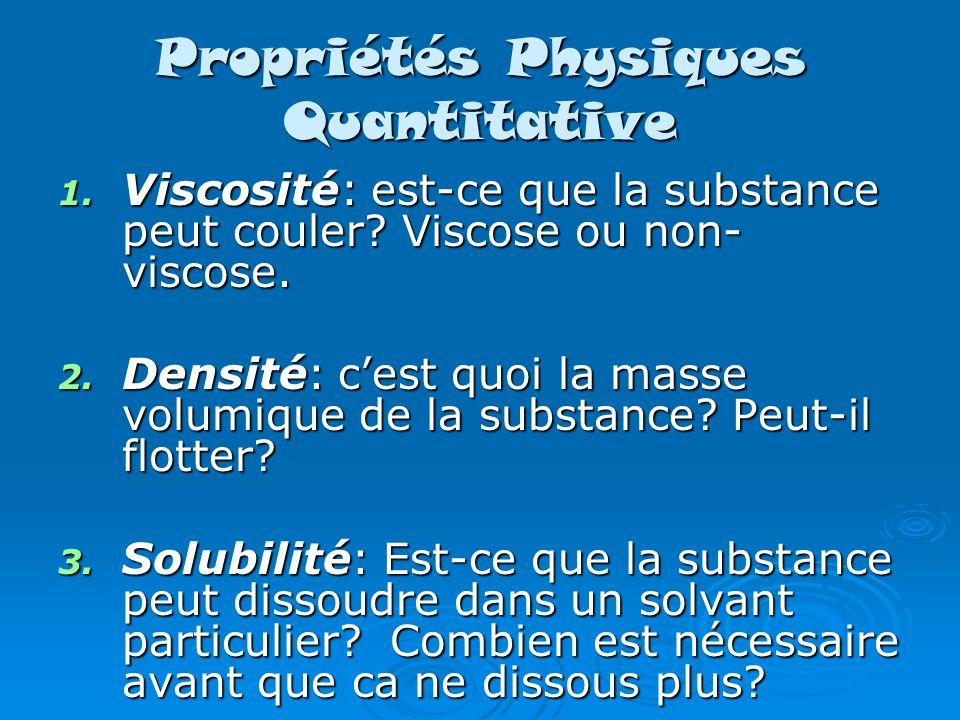Propriétés Physiques Quantitative 1.Viscosité: est-ce que la substance peut couler.