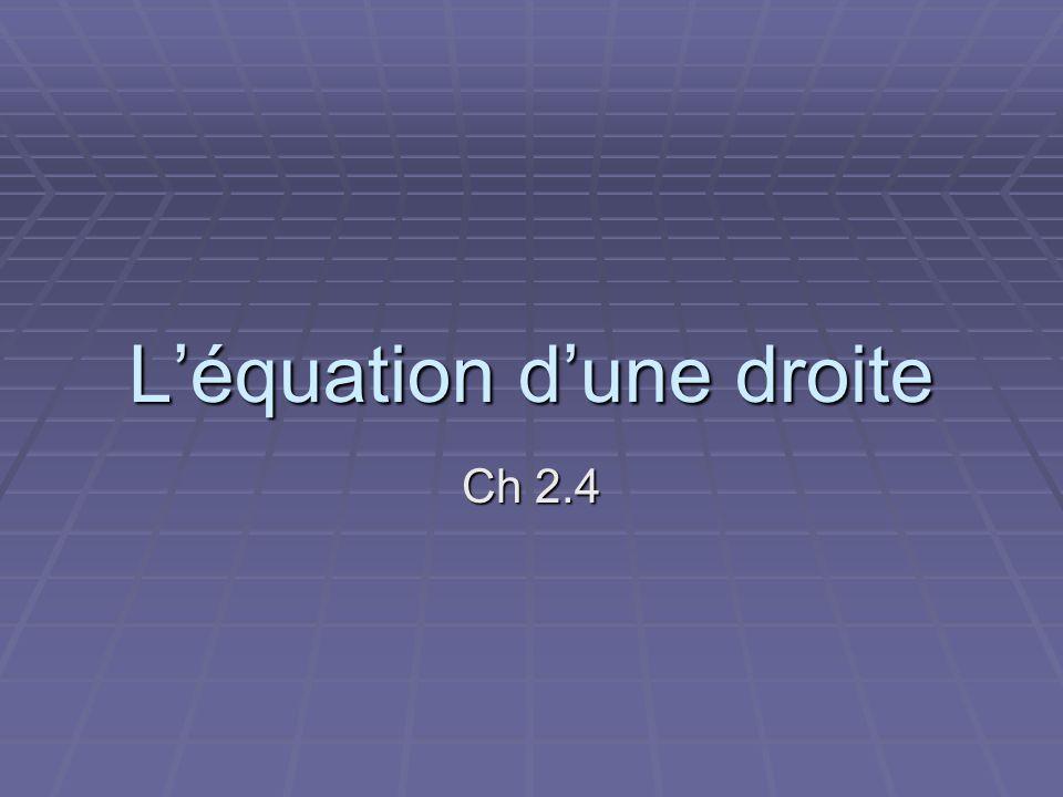 L'équation d'une droite Ch 2.4