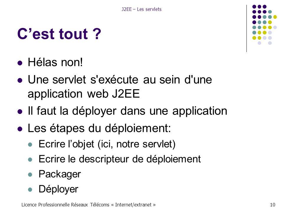 Licence Professionnelle Réseaux Télécoms « Internet/extranet »10 J2EE – Les servlets C'est tout .