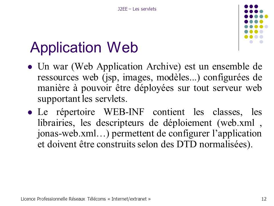 Licence Professionnelle Réseaux Télécoms « Internet/extranet »12 J2EE – Les servlets Application Web Un war (Web Application Archive) est un ensemble de ressources web (jsp, images, modèles...) configurées de manière à pouvoir être déployées sur tout serveur web supportant les servlets.