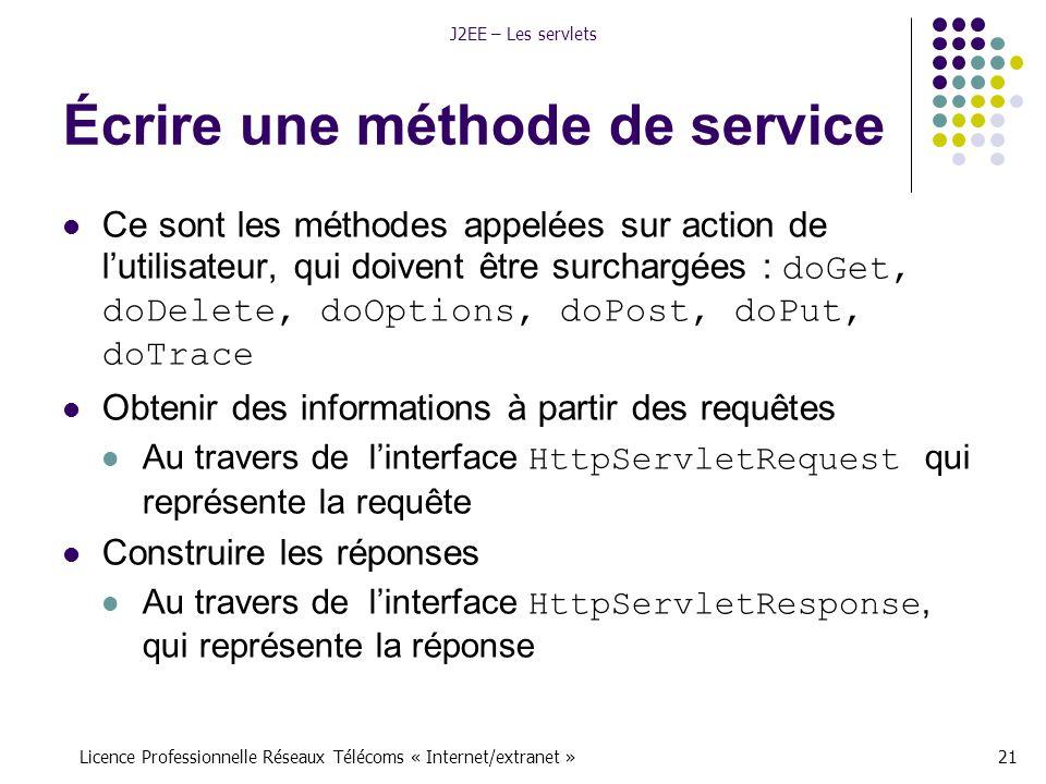 Licence Professionnelle Réseaux Télécoms « Internet/extranet »21 J2EE – Les servlets Écrire une méthode de service Ce sont les méthodes appelées sur action de l'utilisateur, qui doivent être surchargées : doGet, doDelete, doOptions, doPost, doPut, doTrace Obtenir des informations à partir des requêtes Au travers de l'interface HttpServletRequest qui représente la requête Construire les réponses Au travers de l'interface HttpServletResponse, qui représente la réponse