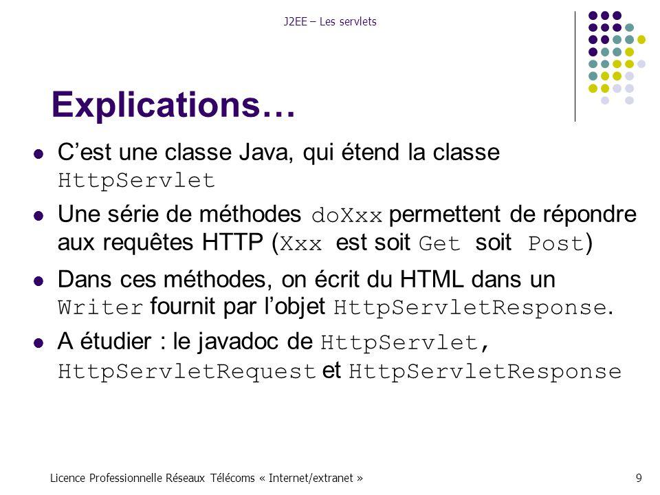 Licence Professionnelle Réseaux Télécoms « Internet/extranet »9 J2EE – Les servlets Explications… C'est une classe Java, qui étend la classe HttpServlet Une série de méthodes doXxx permettent de répondre aux requêtes HTTP ( Xxx est soit Get soit Post ) Dans ces méthodes, on écrit du HTML dans un Writer fournit par l'objet HttpServletResponse.