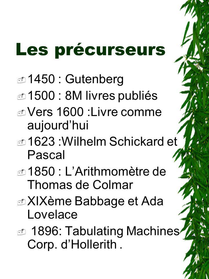 Les précurseurs  1450 : Gutenberg  1500 : 8M livres publiés  Vers 1600 :Livre comme aujourd'hui  1623 :Wilhelm Schickard et Pascal  1850 : L'Arit