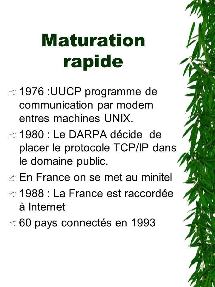 Maturation rapide  1976 :UUCP programme de communication par modem entres machines UNIX.  1980 : Le DARPA décide de placer le protocole TCP/IP dans
