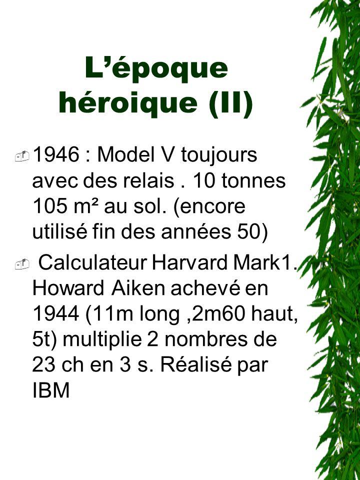 L'époque héroique (II)  1946 : Model V toujours avec des relais. 10 tonnes 105 m² au sol. (encore utilisé fin des années 50)  Calculateur Harvard Ma