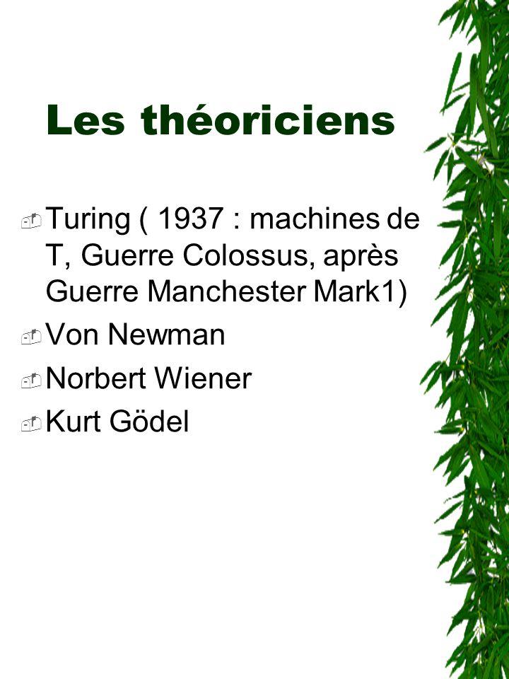 Les théoriciens  Turing ( 1937 : machines de T, Guerre Colossus, après Guerre Manchester Mark1)  Von Newman  Norbert Wiener  Kurt Gödel