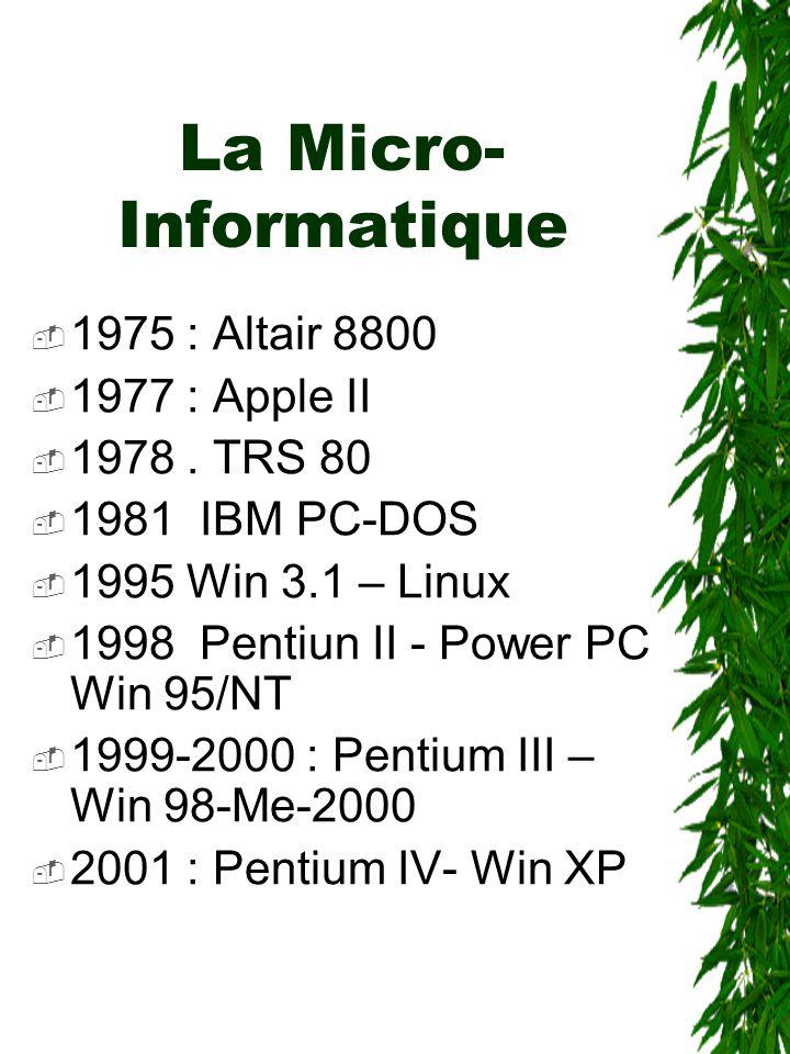 La Micro- Informatique  1975 : Altair 8800  1977 : Apple II  1978. TRS 80  1981 IBM PC-DOS  1995 Win 3.1 – Linux  1998 Pentiun II - Power PC Win