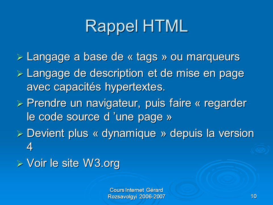 Cours Internet Gérard Rozsavolgyi 2006-200710 Rappel HTML  Langage a base de « tags » ou marqueurs  Langage de description et de mise en page avec capacités hypertextes.
