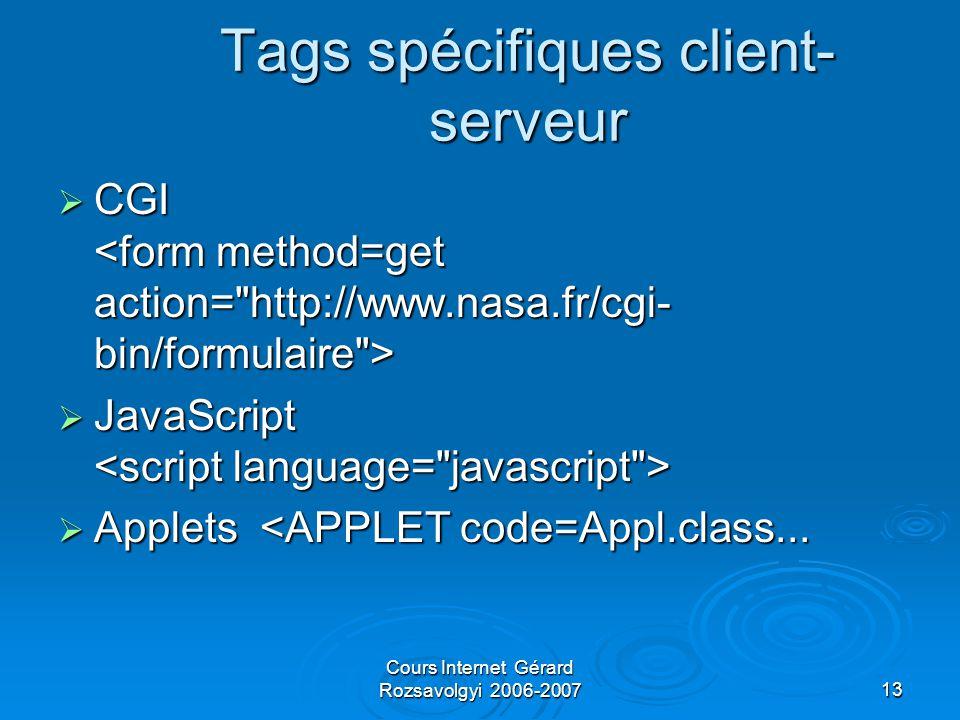 Cours Internet Gérard Rozsavolgyi 2006-200713 Tags spécifiques client- serveur  CGI  CGI  JavaScript  JavaScript  Applets <APPLET code=Appl.class...