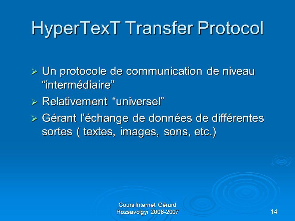 Cours Internet Gérard Rozsavolgyi 2006-200714 HyperTexT Transfer Protocol  Un protocole de communication de niveau intermédiaire  Relativement universel  Gérant l'échange de données de différentes sortes ( textes, images, sons, etc.)
