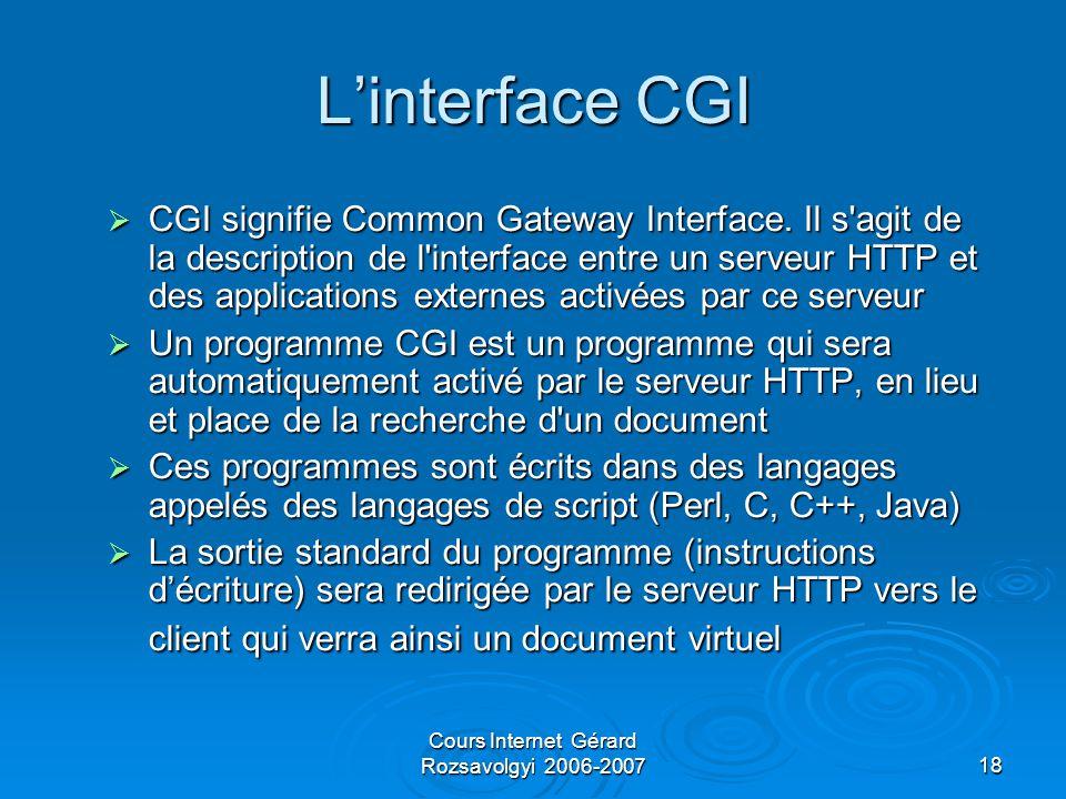 Cours Internet Gérard Rozsavolgyi 2006-200718 L'interface CGI  CGI signifie Common Gateway Interface.