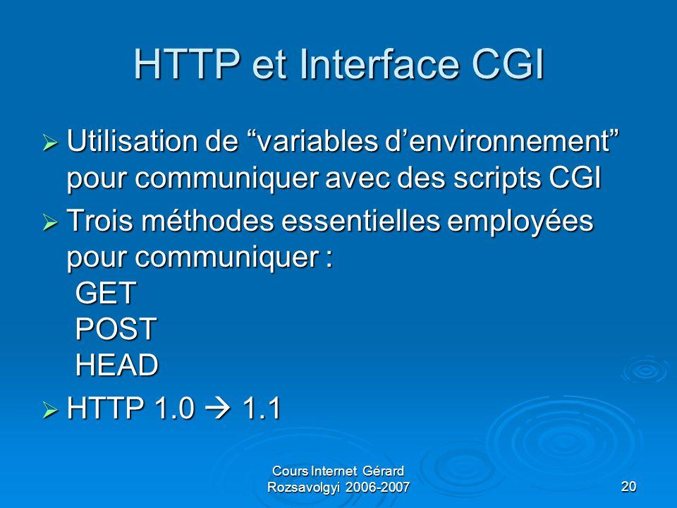 Cours Internet Gérard Rozsavolgyi 2006-200720 HTTP et Interface CGI  Utilisation de variables d'environnement pour communiquer avec des scripts CGI  Trois méthodes essentielles employées pour communiquer : GET POST HEAD  HTTP 1.0  1.1