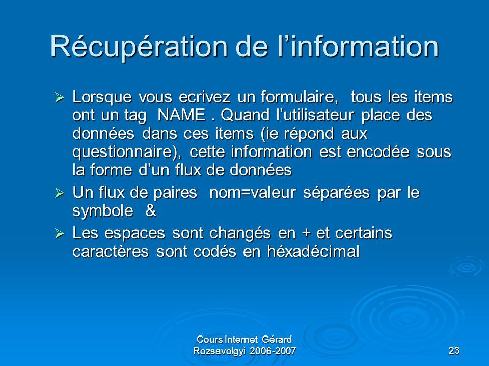 Cours Internet Gérard Rozsavolgyi 2006-200723 Récupération de l'information  Lorsque vous ecrivez un formulaire, tous les items ont un tag NAME.
