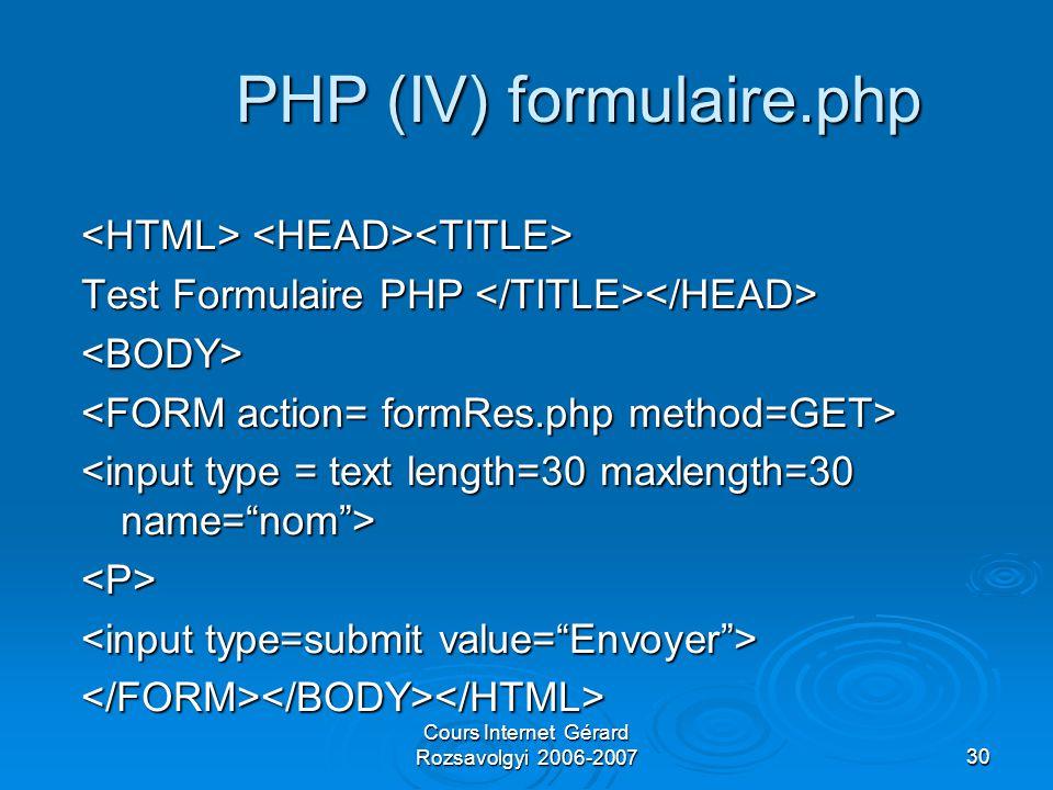 Cours Internet Gérard Rozsavolgyi 2006-200730 PHP (IV) formulaire.php Test Formulaire PHP Test Formulaire PHP <BODY> <P> </FORM></BODY></HTML>