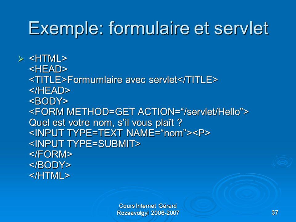 Cours Internet Gérard Rozsavolgyi 2006-200737 Exemple: formulaire et servlet  Formumlaire avec servlet Quel est votre nom, s'il vous plaît .