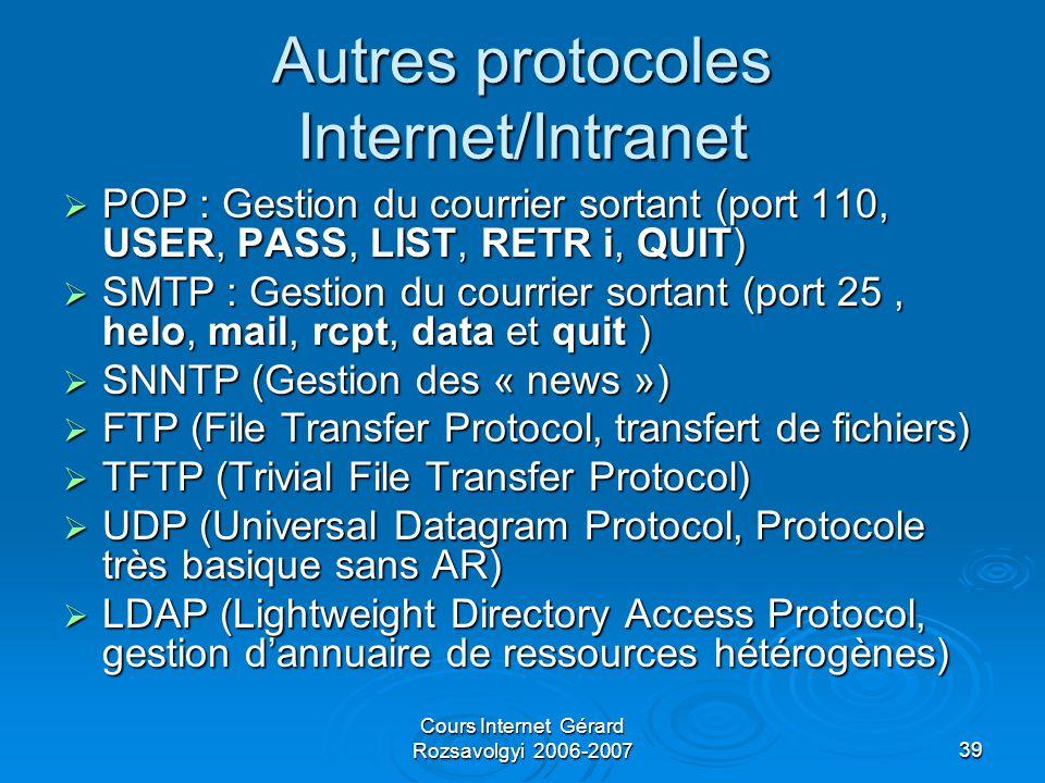 Cours Internet Gérard Rozsavolgyi 2006-200739 Autres protocoles Internet/Intranet  POP : Gestion du courrier sortant (port 110, USER, PASS, LIST, RETR i, QUIT)  SMTP : Gestion du courrier sortant (port 25, helo, mail, rcpt, data et quit )  SNNTP (Gestion des « news »)  FTP (File Transfer Protocol, transfert de fichiers)  TFTP (Trivial File Transfer Protocol)  UDP (Universal Datagram Protocol, Protocole très basique sans AR)  LDAP (Lightweight Directory Access Protocol, gestion d'annuaire de ressources hétérogènes)