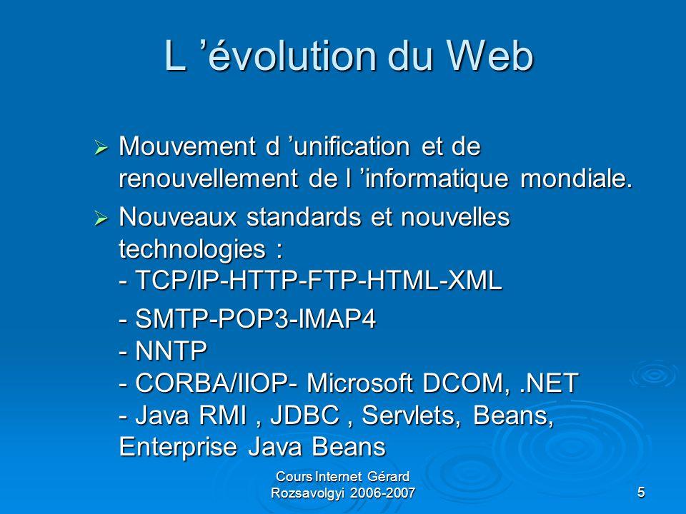 Cours Internet Gérard Rozsavolgyi 2006-20075 L 'évolution du Web  Mouvement d 'unification et de renouvellement de l 'informatique mondiale.