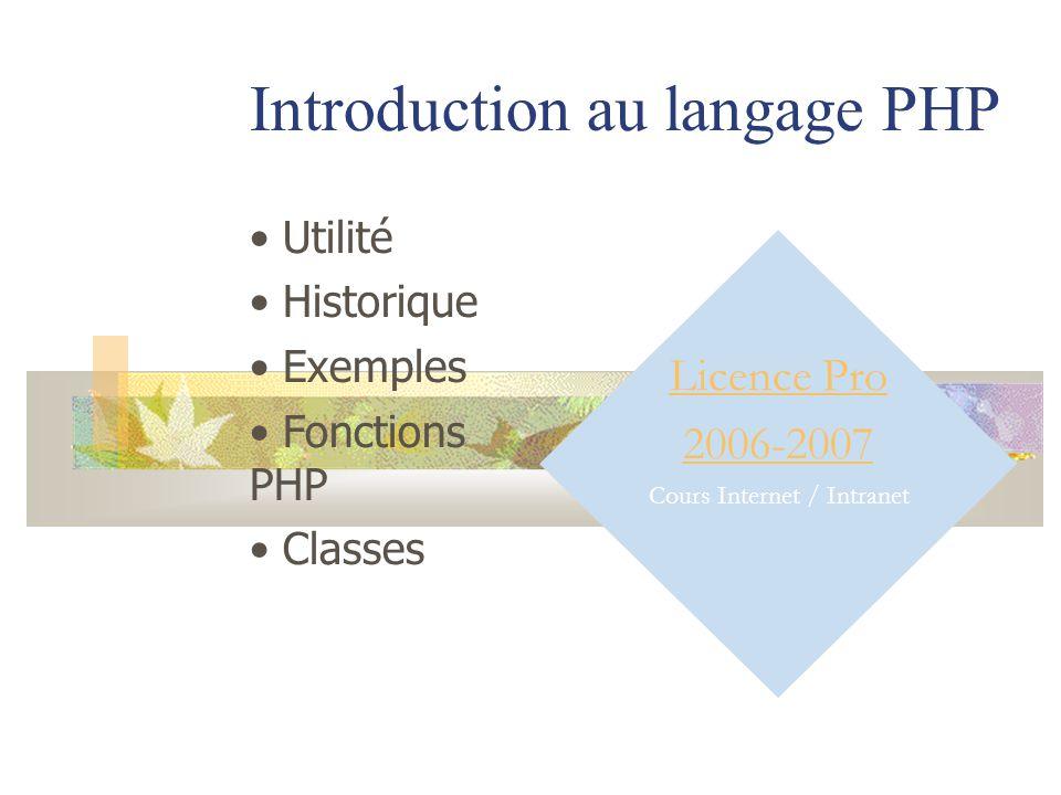 Introduction au langage PHP Licence Pro 2006-2007 Cours Internet / Intranet Utilité Historique Exemples Fonctions PHP Classes