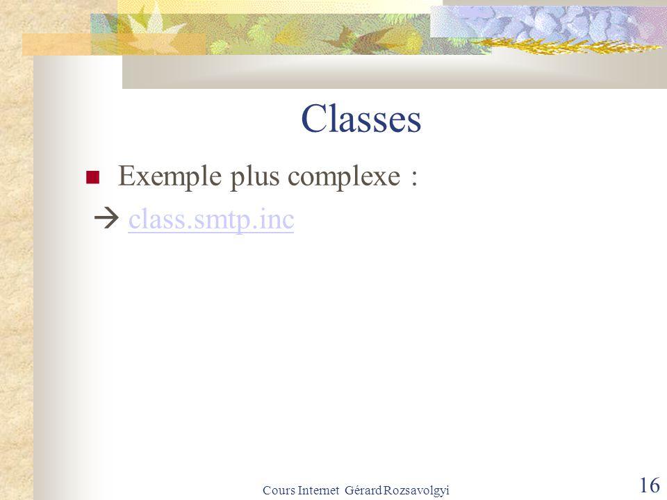 Cours Internet Gérard Rozsavolgyi 16 Classes Exemple plus complexe :  class.smtp.incclass.smtp.inc