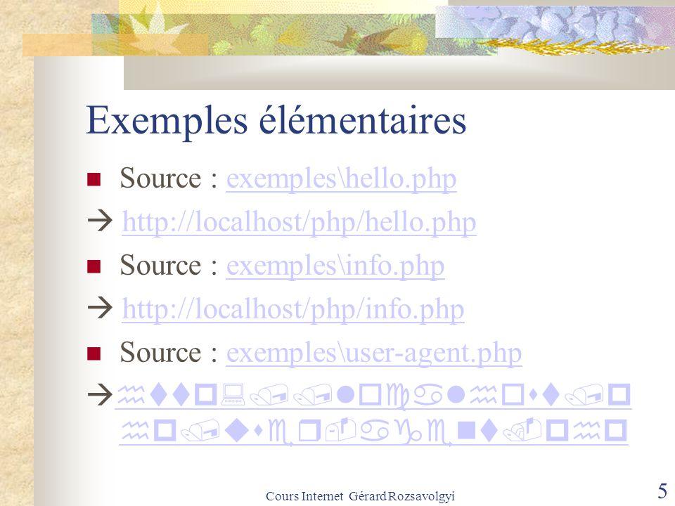 Cours Internet Gérard Rozsavolgyi 5 Exemples élémentaires Source : exemples\hello.phpexemples\hello.php  http://localhost/php/hello.phphttp://localhost/php/hello.php Source : exemples\info.phpexemples\info.php  http://localhost/php/info.phphttp://localhost/php/info.php Source : exemples\user-agent.phpexemples\user-agent.php   