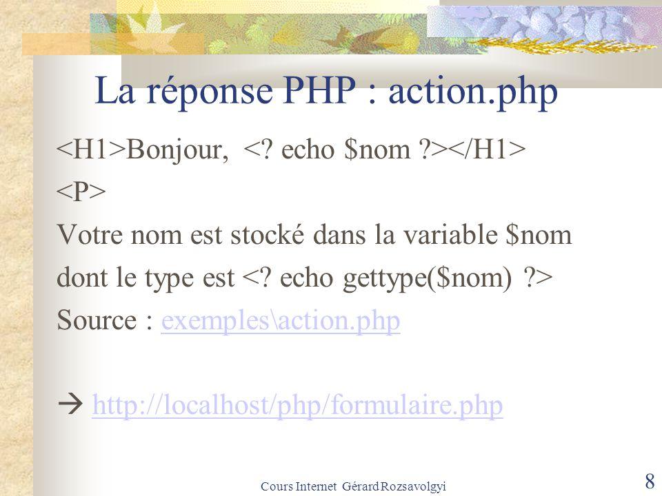Cours Internet Gérard Rozsavolgyi 8 La réponse PHP : action.php Bonjour, Votre nom est stocké dans la variable $nom dont le type est Source : exemples\action.phpexemples\action.php  http://localhost/php/formulaire.phphttp://localhost/php/formulaire.php