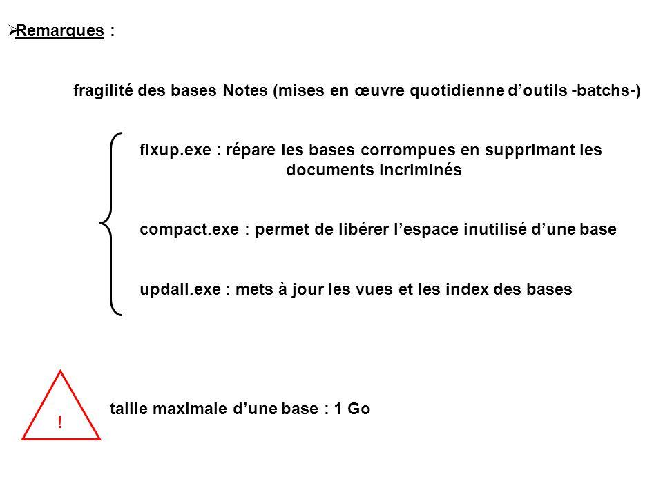  Remarques : fragilité des bases Notes (mises en œuvre quotidienne d'outils -batchs-) fixup.exe : répare les bases corrompues en supprimant les documents incriminés compact.exe : permet de libérer l'espace inutilisé d'une base updall.exe : mets à jour les vues et les index des bases taille maximale d'une base : 1 Go !
