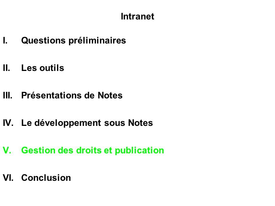 Intranet I.Questions préliminaires II.Les outils III.Présentations de Notes IV.Le développement sous Notes V.Gestion des droits et publication VI.Conc