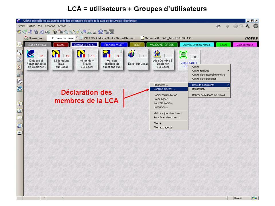 Déclaration des membres de la LCA LCA = utilisateurs + Groupes d'utilisateurs