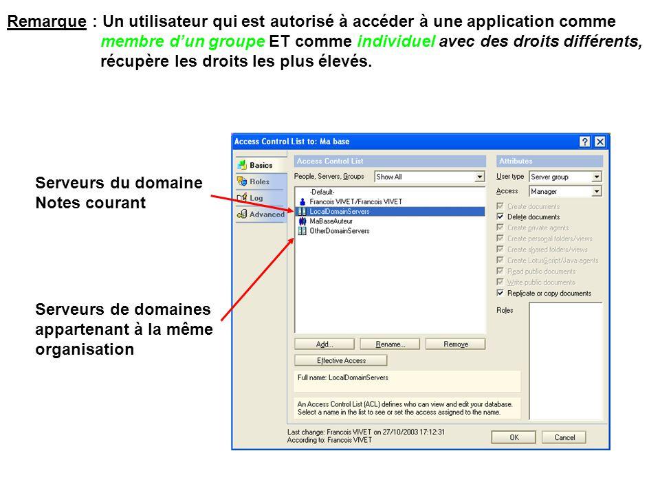 Remarque : Un utilisateur qui est autorisé à accéder à une application comme membre d'un groupe ET comme individuel avec des droits différents, récupè