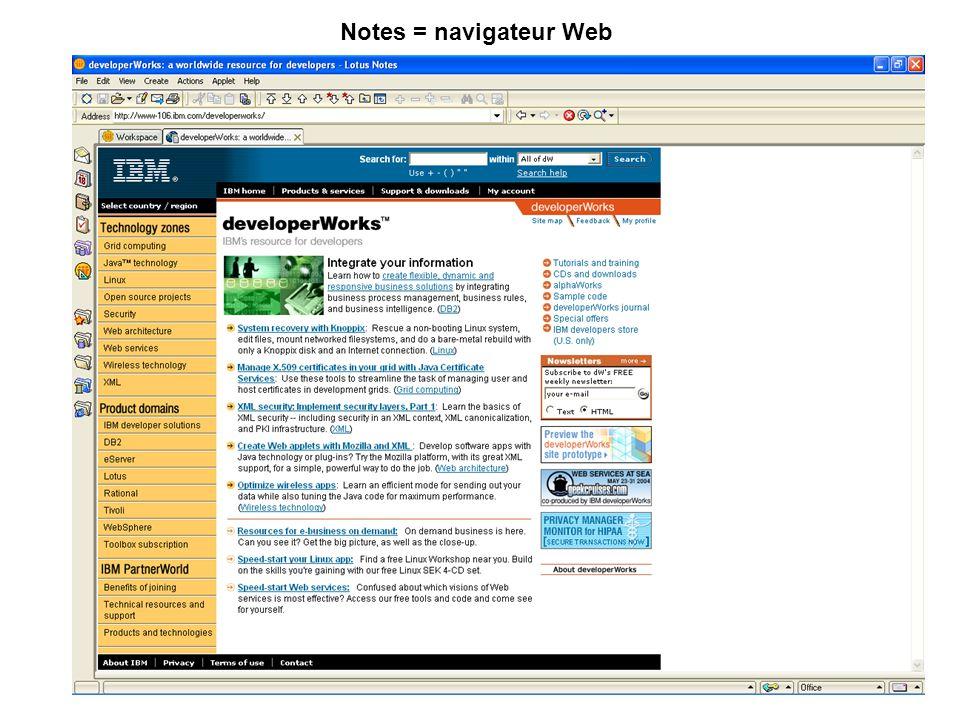 Notes = navigateur Web