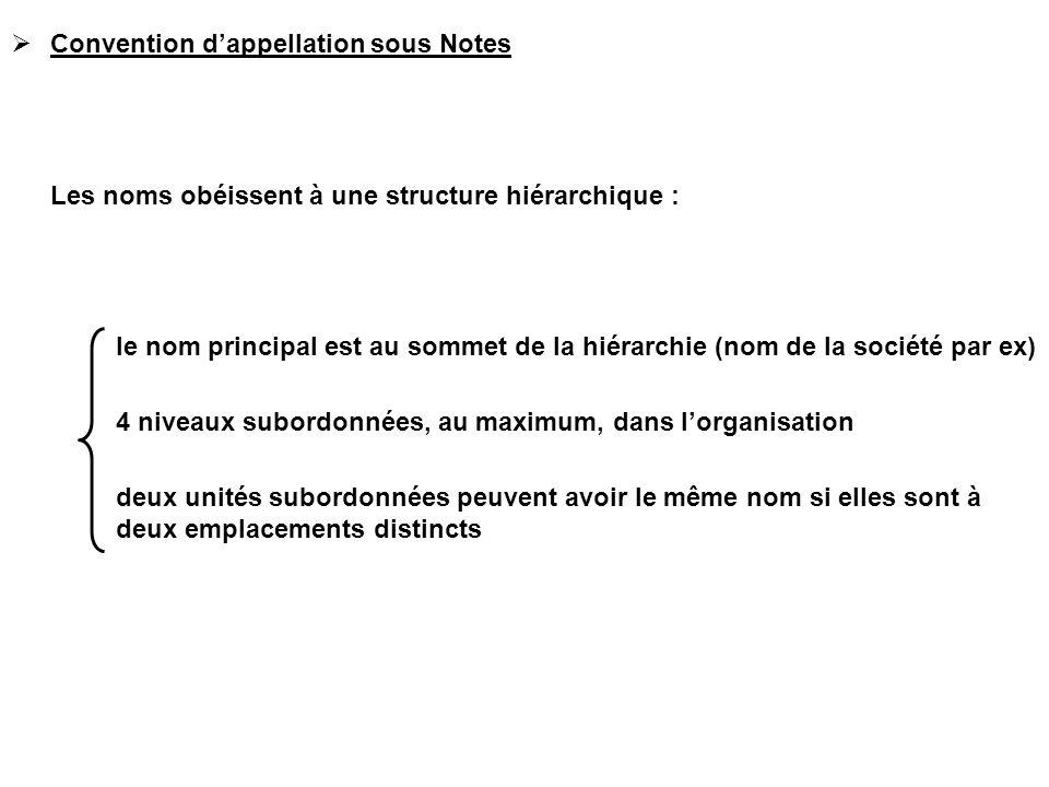  Convention d'appellation sous Notes Les noms obéissent à une structure hiérarchique : le nom principal est au sommet de la hiérarchie (nom de la soc