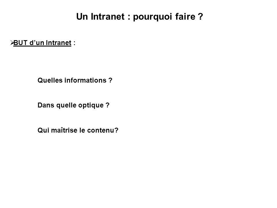 Un Intranet : pourquoi faire ?  BUT d'un Intranet : Quelles informations ? Dans quelle optique ? Qui maîtrise le contenu?