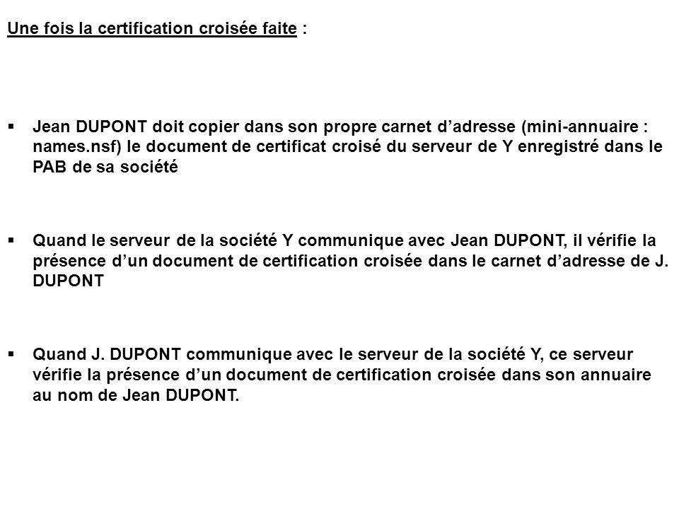 Une fois la certification croisée faite :  Jean DUPONT doit copier dans son propre carnet d'adresse (mini-annuaire : names.nsf) le document de certif
