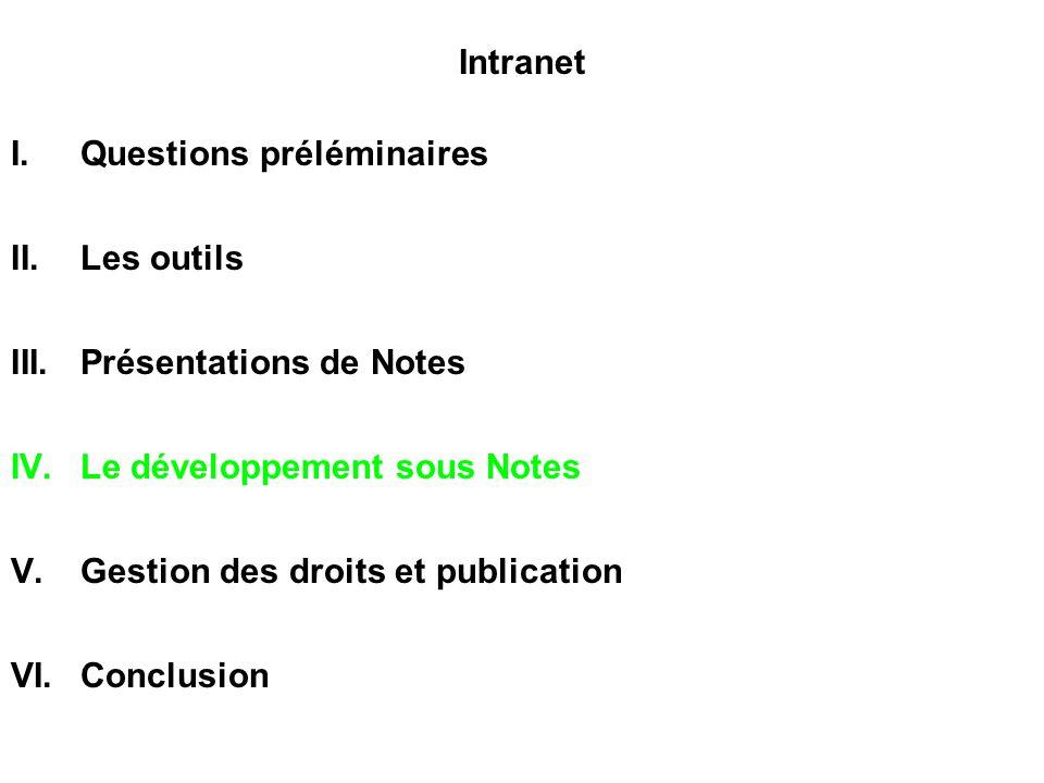 Intranet I.Questions préléminaires II.Les outils III.Présentations de Notes IV.Le développement sous Notes V.Gestion des droits et publication VI.Conclusion
