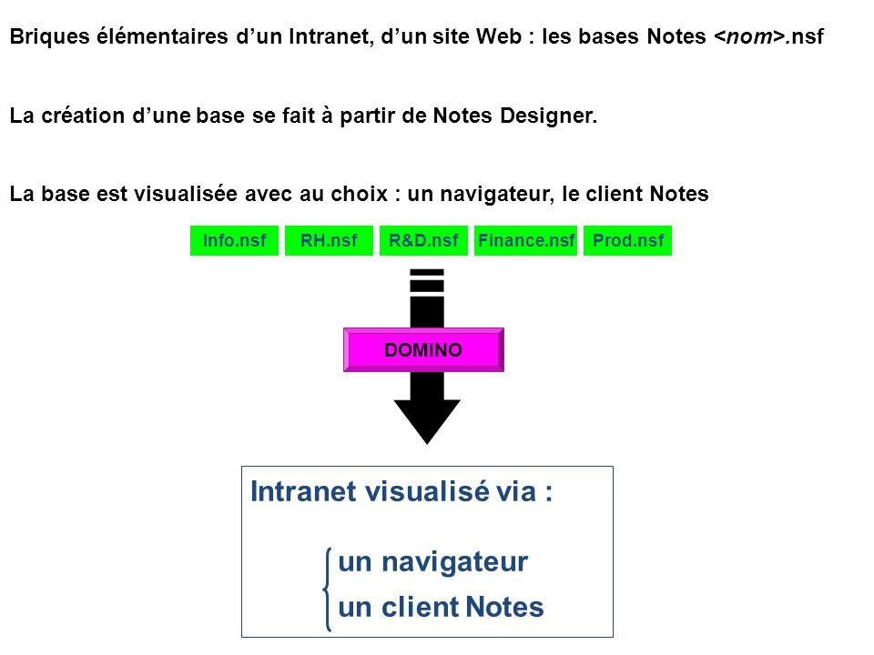Briques élémentaires d'un Intranet, d'un site Web : les bases Notes.nsf La création d'une base se fait à partir de Notes Designer. La base est visuali