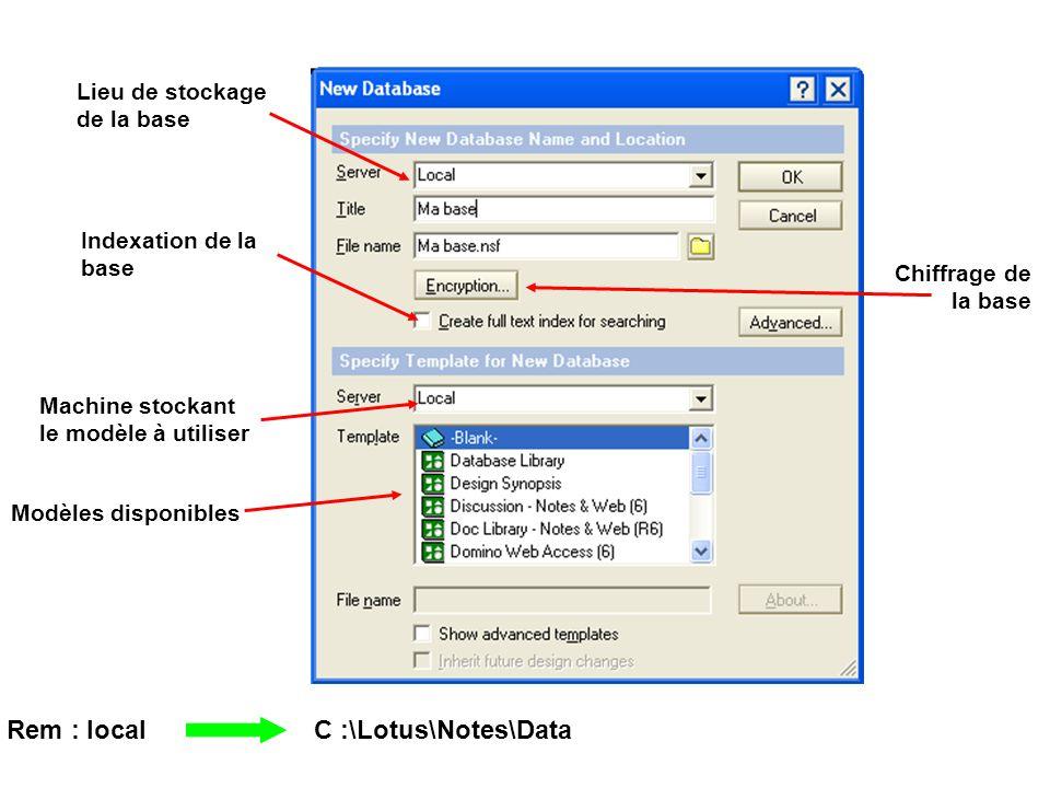 Lieu de stockage de la base Rem : local C :\Lotus\Notes\Data Indexation de la base Machine stockant le modèle à utiliser Modèles disponibles Chiffrage de la base