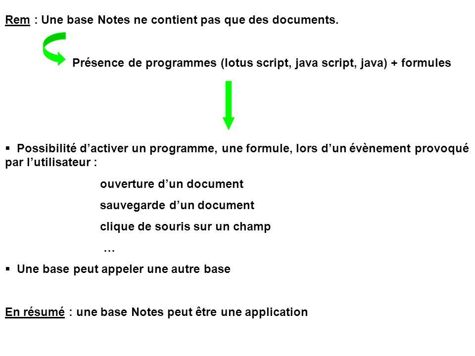 Rem : Une base Notes ne contient pas que des documents. Présence de programmes (lotus script, java script, java) + formules  Possibilité d'activer un
