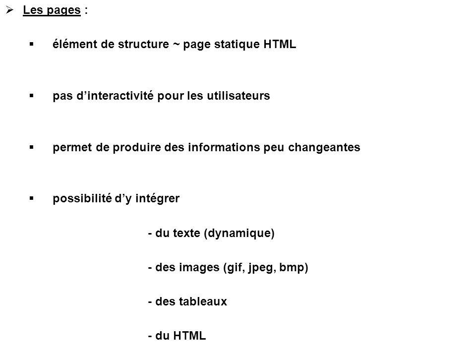  Les pages :  élément de structure ~ page statique HTML  pas d'interactivité pour les utilisateurs  permet de produire des informations peu change