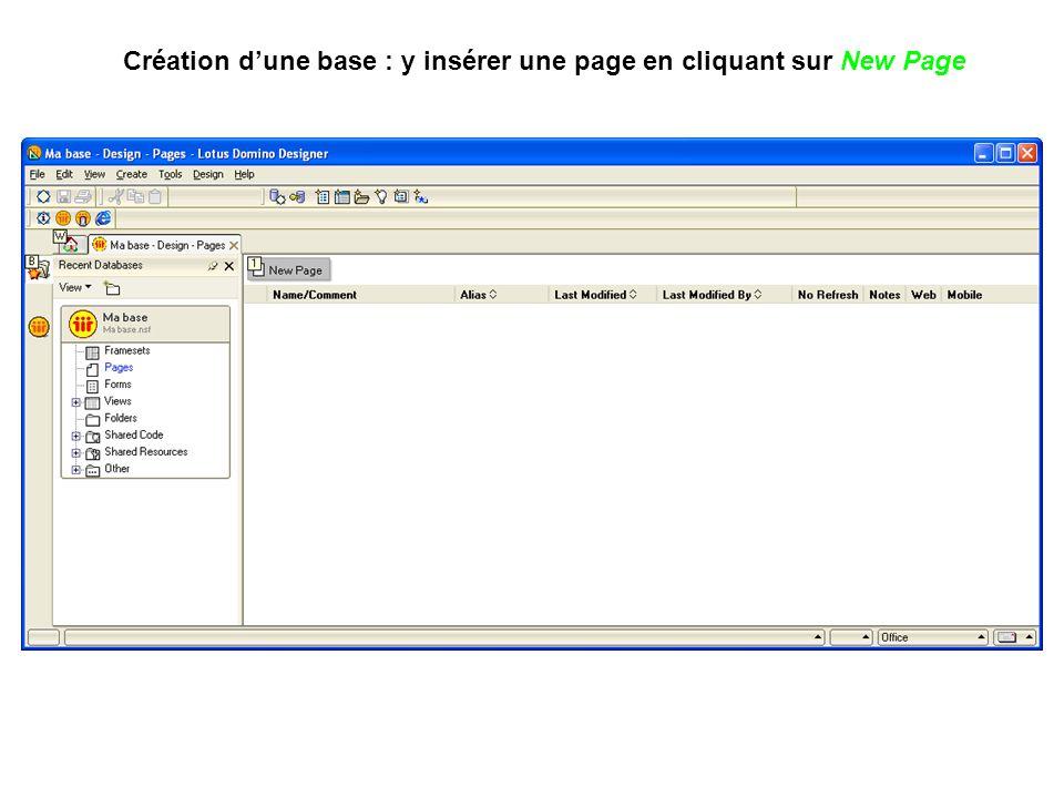 Création d'une base : y insérer une page en cliquant sur New Page
