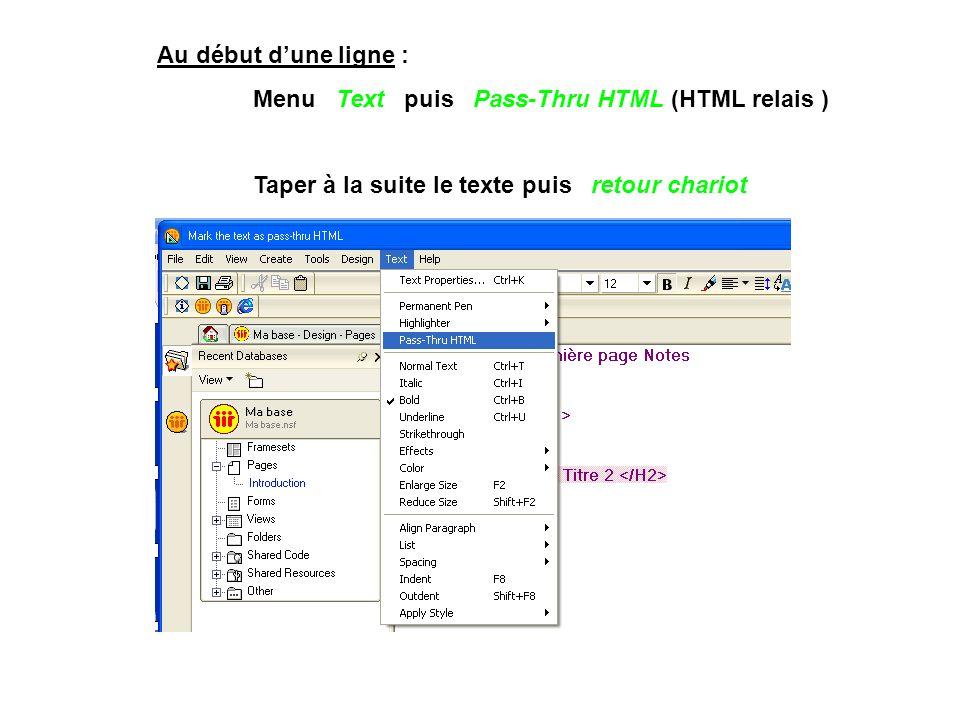 Au début d'une ligne : Menu Text puis Pass-Thru HTML (HTML relais ) Taper à la suite le texte puis retour chariot